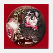 Havanese Christmas Tile Coaster
