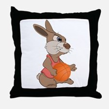 Funny rabbit with basketball Throw Pillow
