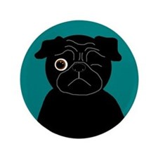 """Wink, the Pug 3.5"""" Button"""