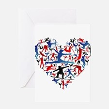 Athletic player made heart in Olymp Greeting Cards