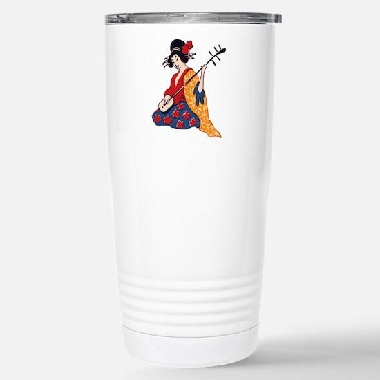 Geisha playing shamisen Stainless Steel Travel Mug