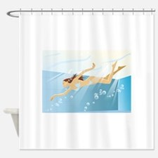 Pool girl shower curtains pool girl fabric shower Swimming pool shower curtain