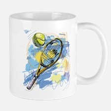 Hand drawn with graffiti tennis sport Mugs