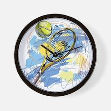 Hand drawn with graffiti tennis sport Wall Clock