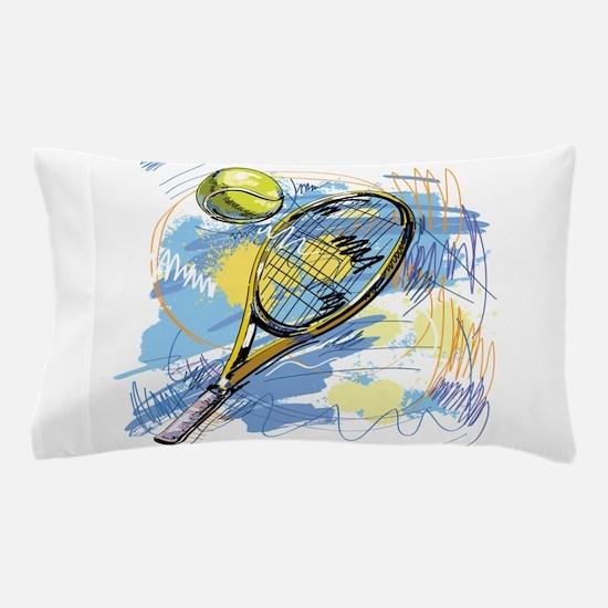 Hand drawn with graffiti tennis sport Pillow Case