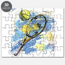 Hand drawn with graffiti tennis sport Puzzle