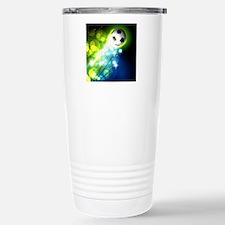 Glowing soccer ball on Travel Mug