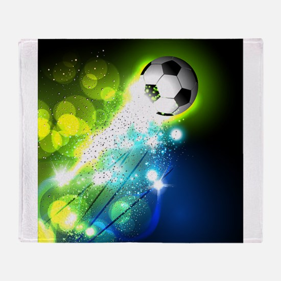 Glowing soccer ball on abstract back Throw Blanket
