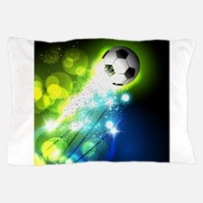 Glowing soccer ball on abstract backgr Pillow Case