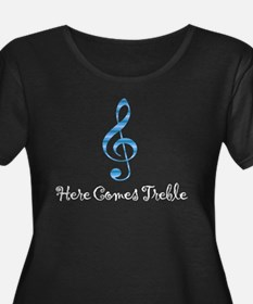 Here Comes Treble - Blue / Dark Plus Size T-Shirt