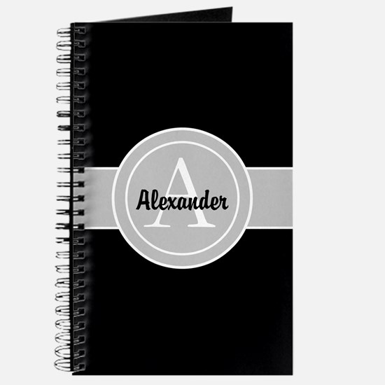 Black Gray Monogram Personalized Journal