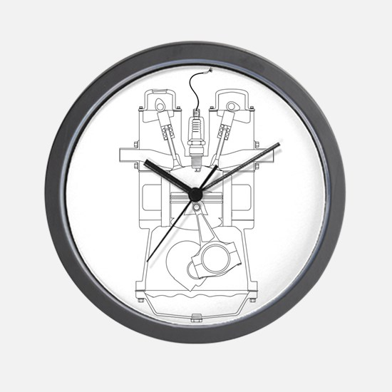 Outlind Drawing Petrol Engine Wall Clock