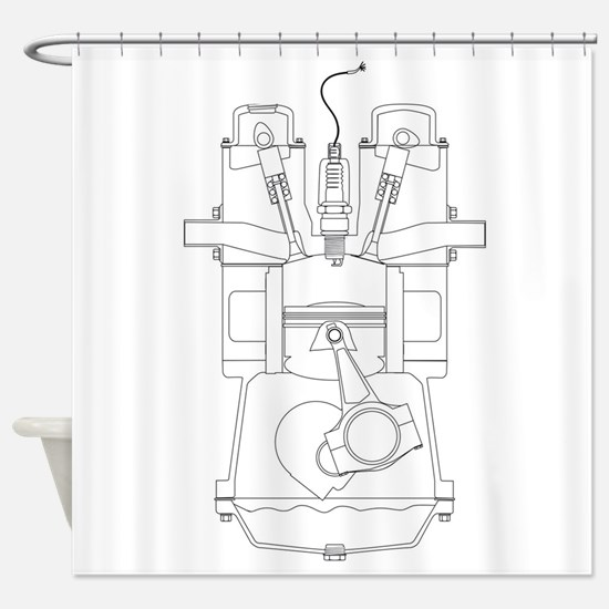 Outlind Drawing Petrol Engine Shower Curtain