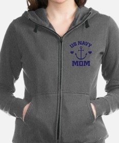 Cute Navy mom Women's Zip Hoodie