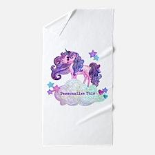 Cute Personalized Unicorn Beach Towel