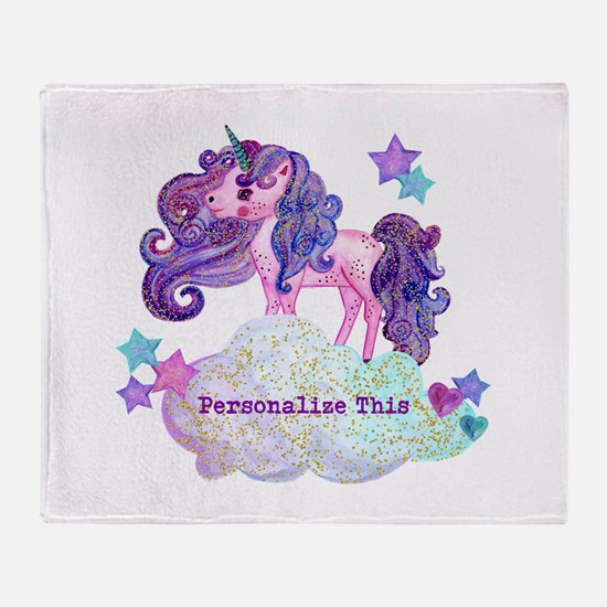 Cute Personalized Unicorn Throw Blanket