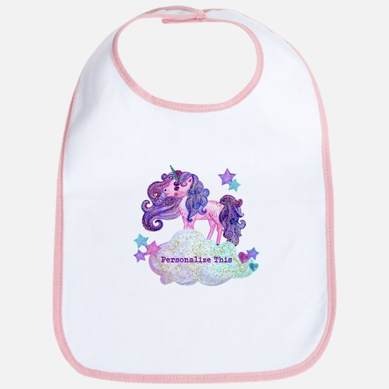 Cute Personalized Unicorn Baby Bib