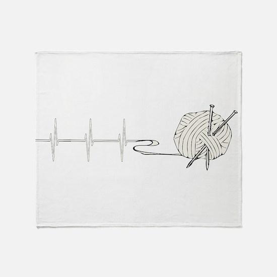 A Knitting Heart Throw Blanket
