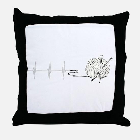 A Knitting Heart Throw Pillow