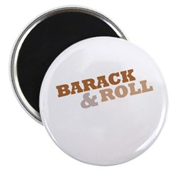 """Barack and Roll"" Brown 2.25"" Magnet (100 pack)"