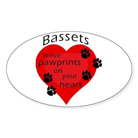 Bassets leave pawprints... Oval Sticker