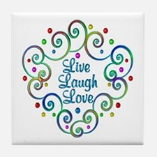 Happy Live Laugh Love Tile Coaster