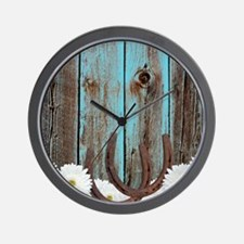 Rustic Teal Barn Wood Horseshoes Wall Clock