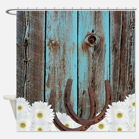 Rustic Teal Barn Wood Horseshoes Shower Curtain