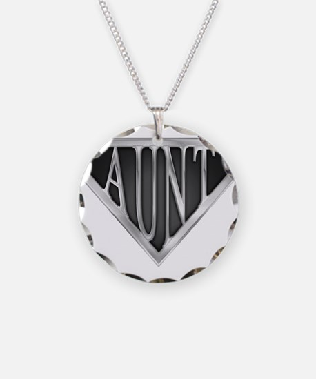 Super Aunt in Chrome Necklace Circle Charm