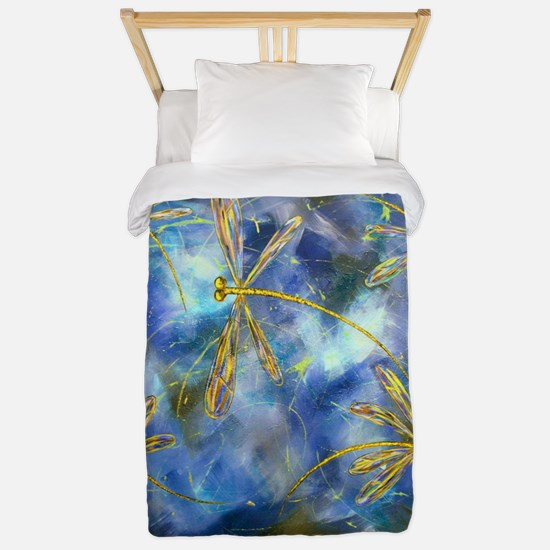 Yellow Dragonfly Flit Twin Duvet