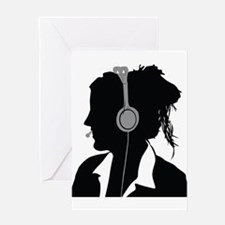 Call center operator with headphone Greeting Cards
