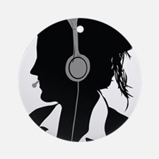 Call center operator with headphone Round Ornament