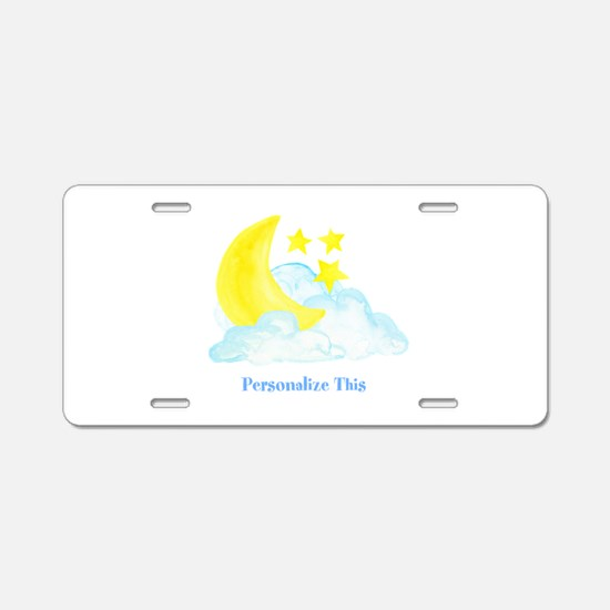 Personalized Moon and Stars Aluminum License Plate