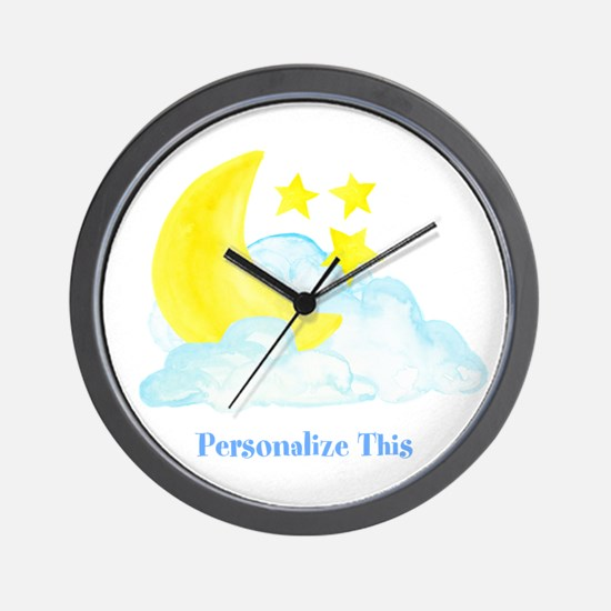 Personalized Moon and Stars Wall Clock
