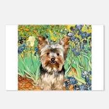 Irises & Yorkshire Terrier 17 Postcards (Package o