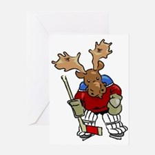 Moose Playing Hockey Greeting Card