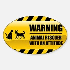 Warning Animal Rescuer Rectangle Decal