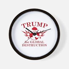 Trump For Global Destruction Wall Clock
