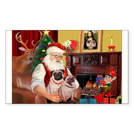 Santa's fawn Pug pair Rectangle Sticker