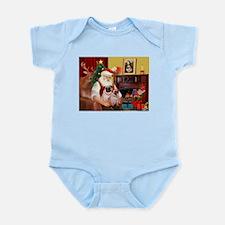 Santa's fawn Pug pair Infant Bodysuit