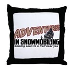 Adventures In Snowmobiling Throw Pillow