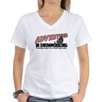 Adventures In Snowmobiling Women's V-Neck T-Shirt