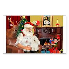 Santa's Bolognese pair Rectangle Decal