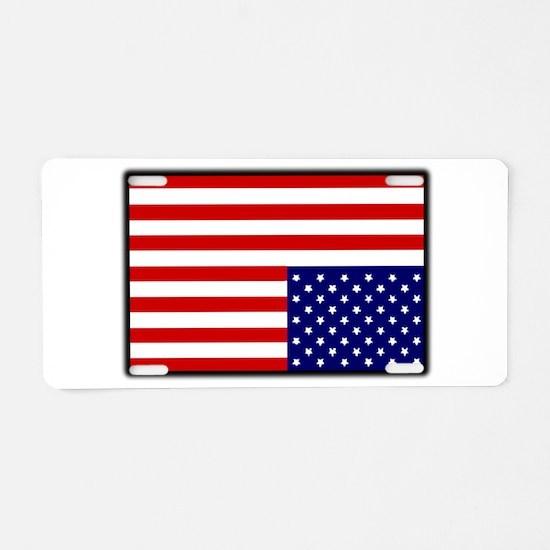 DISTRESSED AMERICAN FLAG Aluminum License Plate