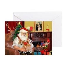 Santa's 2 Corgis (P2) Greeting Cards (Pk of 20)
