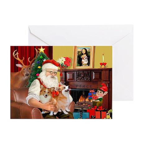 Santa's 2 Corgis (P2) Greeting Cards (Pk of 10)