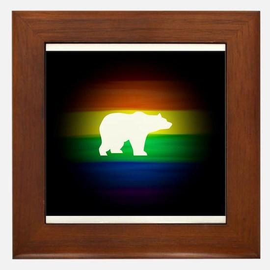 rainbow gay bear art Framed Tile