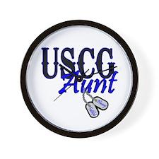 USCG Dog Tag Aunt Wall Clock