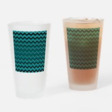 Teal Black Ombre Chevron Drinking Glass