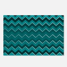Teal Black Ombre Chevron Postcards (Package of 8)